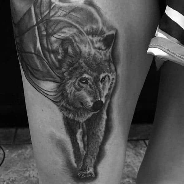Wolf In The Wind Mens Thigh Tattoo