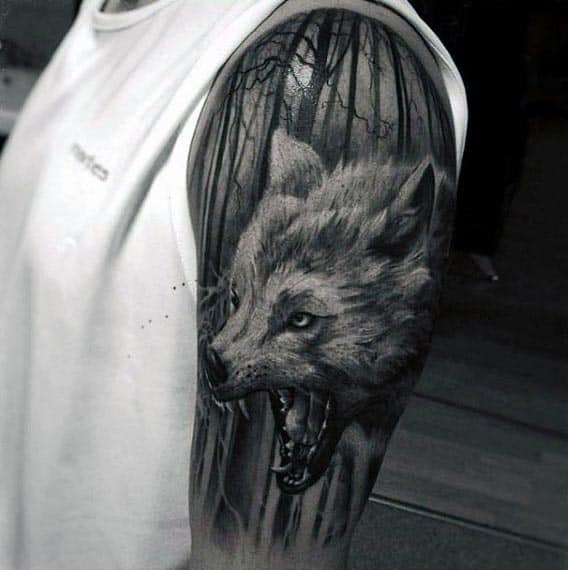 Wolf In The Woods Guys Cool Arm Tattoos