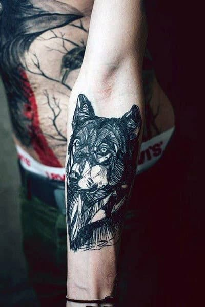 Wolf Inner Forearm Male Artistic Line Tattoos