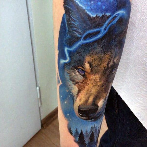 Wolf Mens Forest Blue Sky Tattoo On Forearm