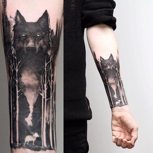 Wolf Negative Space Tree Sleeve Forearm Tattoo On Man