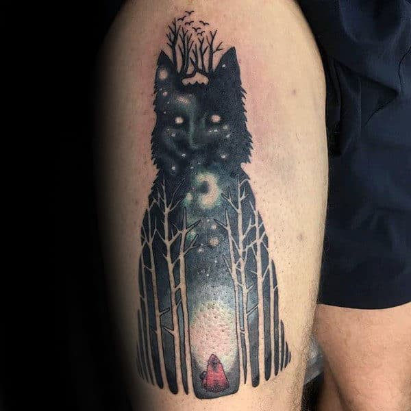 Wolf Negative Space Trees Mens Forest Thigh Tattoo