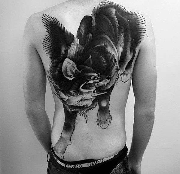 Wolf Old School Awesome Back Tattoo Ideas On Guys