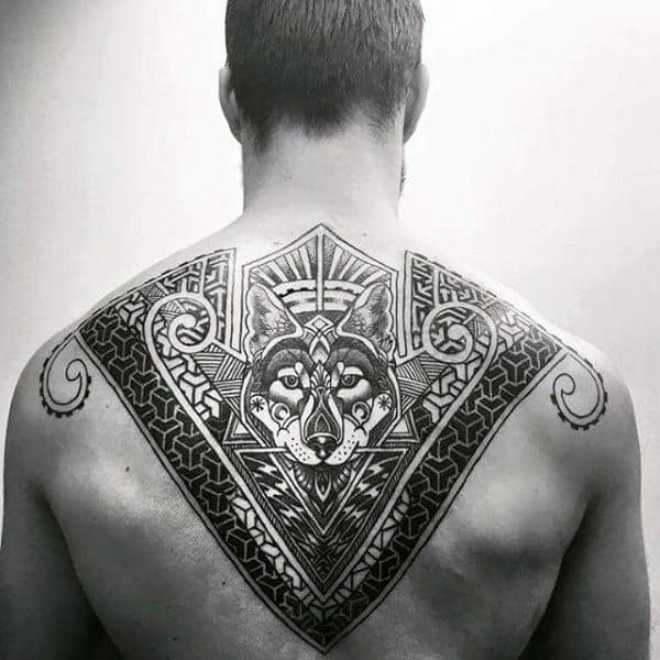 Wolf Pattern Geometric Upper Back Tattoos For Males