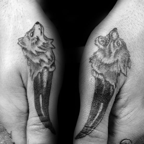Wolf Paw Mens Thumb Tattoos