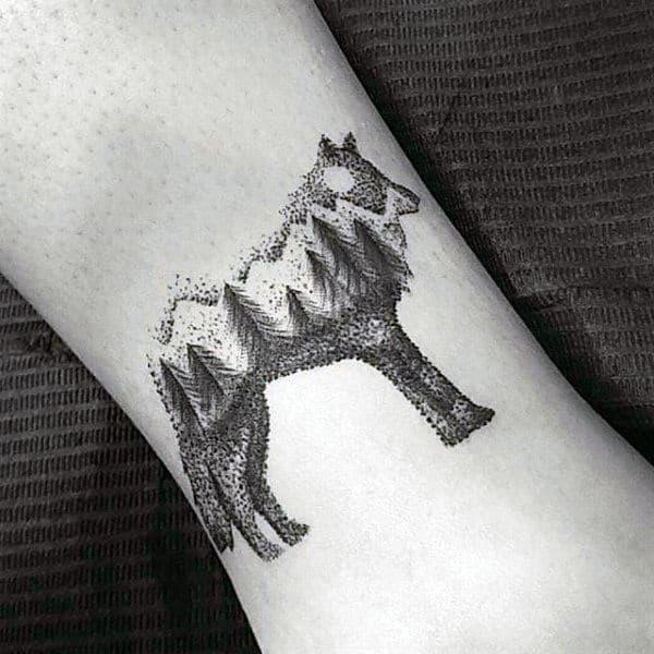 Wolf Pointillism Forest Guys Small Tattoo Ideas