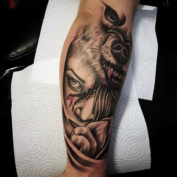 Wolf Portrait Guys Forearm Tattoos Sleeves