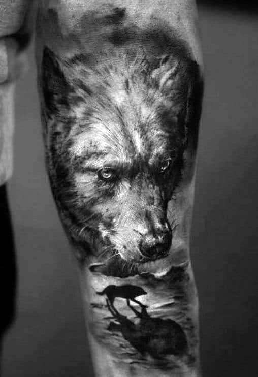 Wolf Roaming Beach Guys Silhouette Sleeve Tattoos