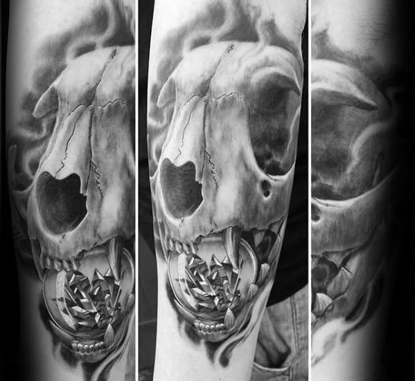 Wolf Skull With Crystal Globe Mens Forearm Tattoo