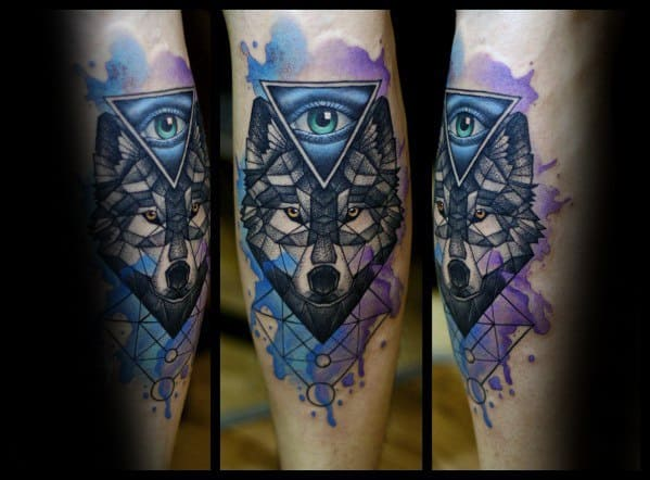 Wolf Watercolor Guys Tattoos