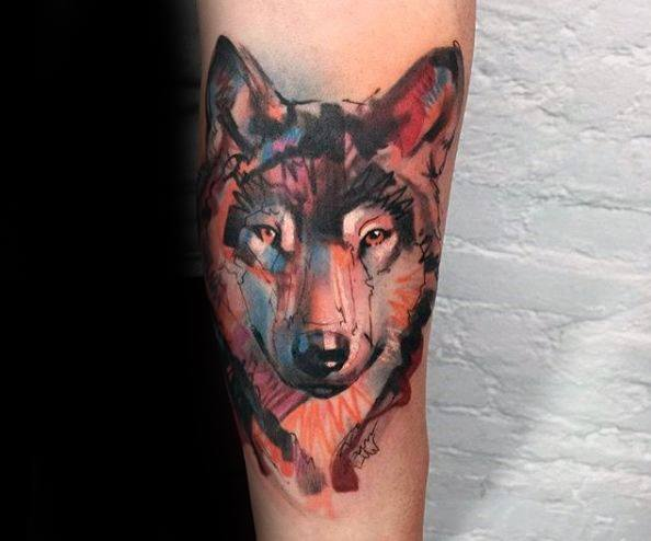 Wolf Watercolor Tattoo Design Ideas For Males