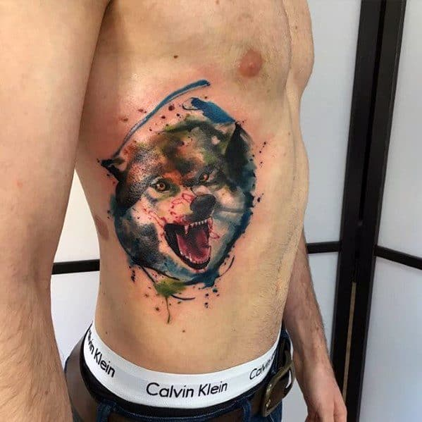 Wolf Watercolor Tattoo Designs For Guys On Rib Cage Side