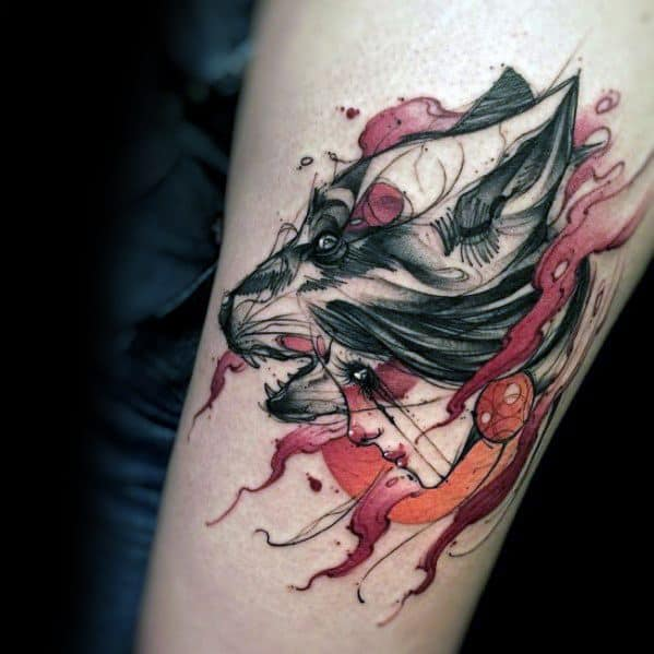 Wolf Watercolor Tattoo Ideas For Males
