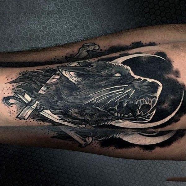 Wolf White Ink Shaded Mens Leg Tattoo Ideas