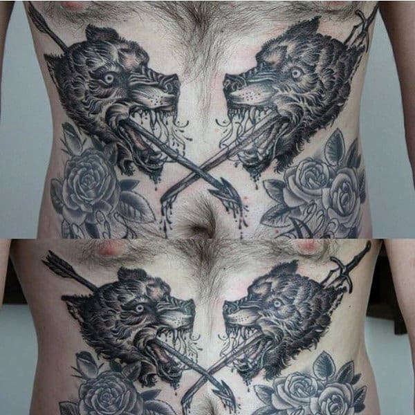 Wolf With Arrows And Roses Tattoos Stomach For Men
