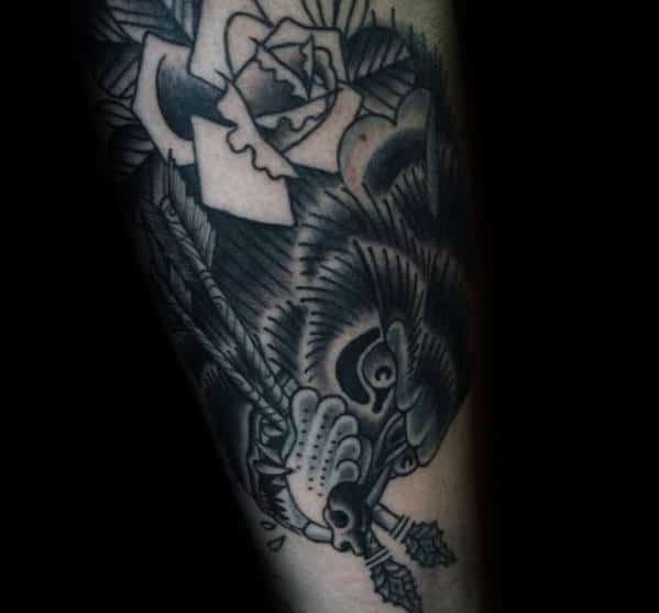 Wolf With Arrows In Mouth Traditional Old School Mens Arm Tattoo