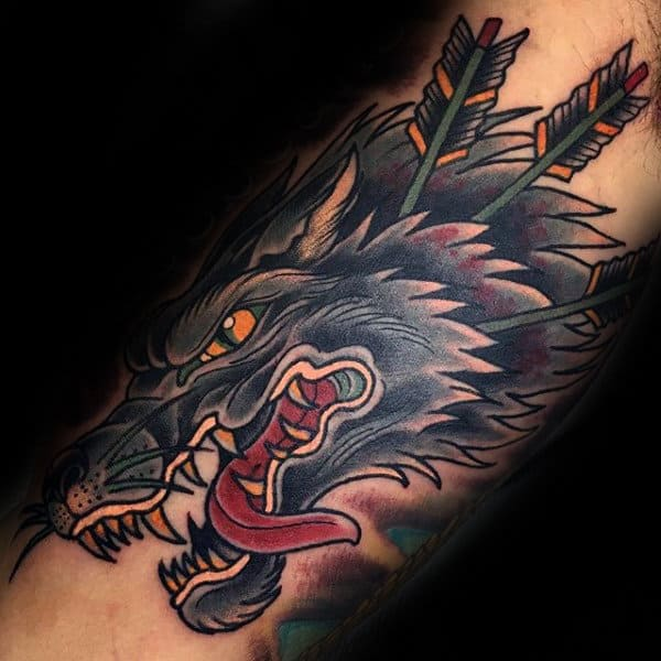 Wolf With Arrows Inner Arm Tattoos For Men