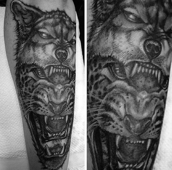 Wolf With Cheetah Mens Shaded Black And Grey Outer Forearm Tattoo