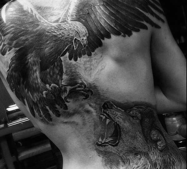 Wolf With Eagle 3d Realistic Back Tattoos For Guys