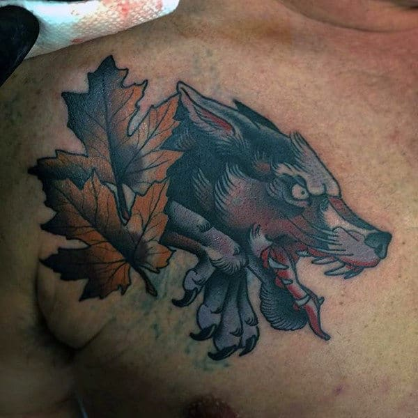 Wolf With Maple Leaf Mens Chest Tattoo Designs
