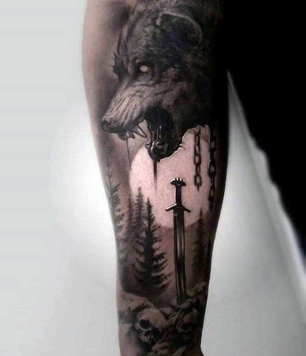 Wolf With Moon And Sword Mens Great Sleeve Tattoo Ideas