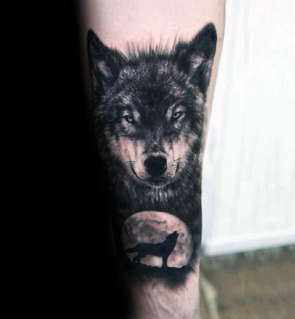 Wolf With Moon Guys Manly Forearm Realistic Tattoo