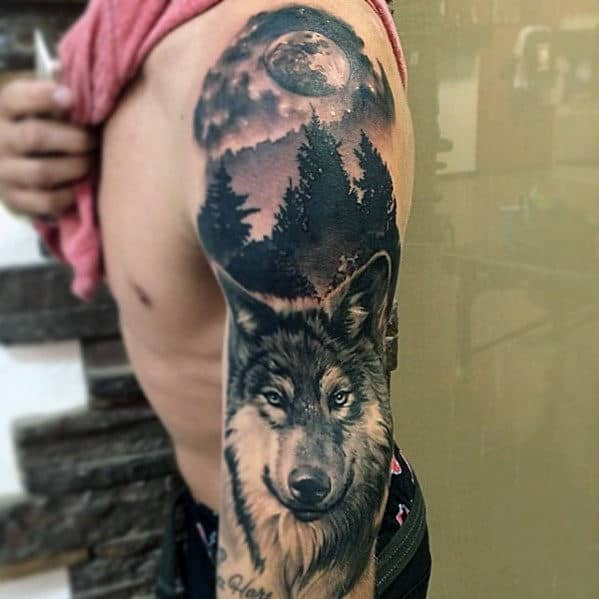 Wolf With Moon Guys Realistic Full Arm Sleeve Tattoo