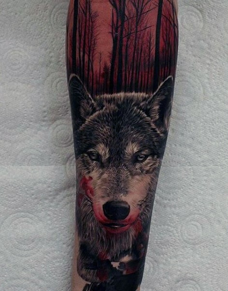 Wolf With Red Ink Forest Guys Sleeve Tattoo Ideas