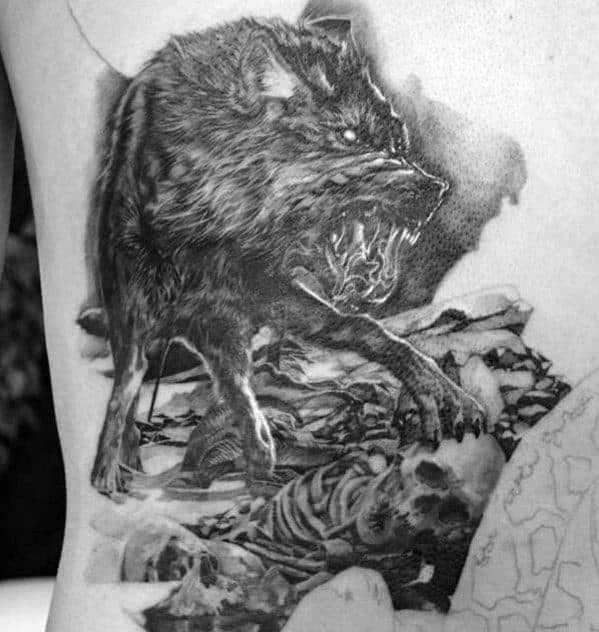 Wolf With Skeleton Realistic Rib Cage Side Tattoos For Guys