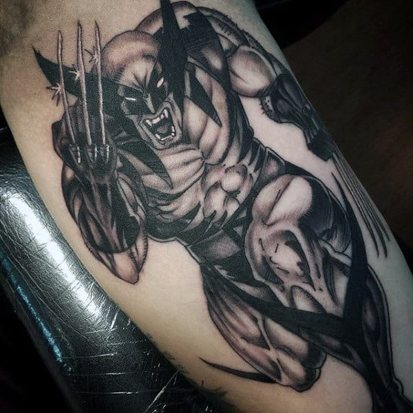 Wolverine Black And Grey Shaded Male Tattoo Ideas On Inner Arm Bicep