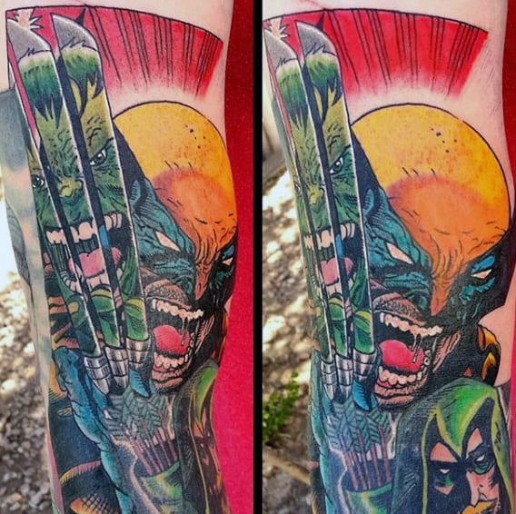 Wolverine Hulk Mens Forearm Tattoo Designs