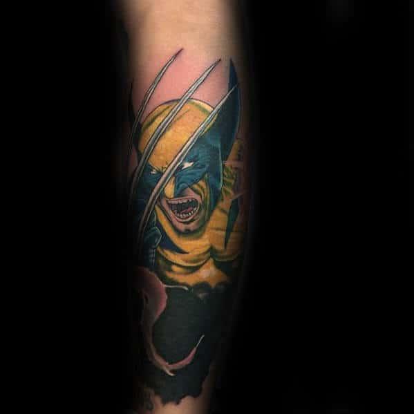 Wolverine Male Marvel Tattoo Design Ideas On Leg