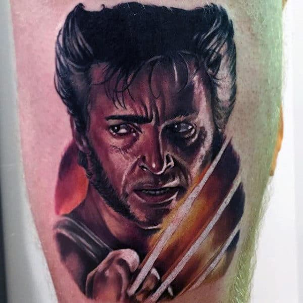 Wolverine Portrait Tattoo Of James Howlett Guys Thigh Tattoos