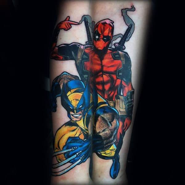 Wolverine With Deadpool Superhero Mens Forearm Tattoos