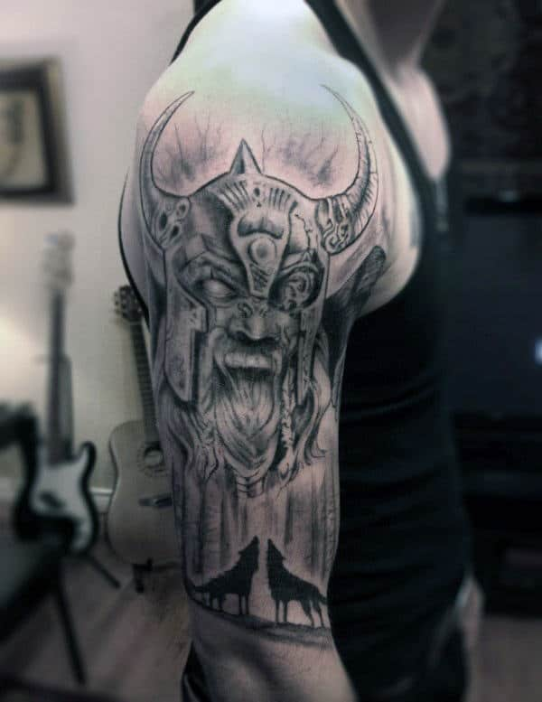 Wolves Howling With Odin Mens Half Sleeve Tattoo
