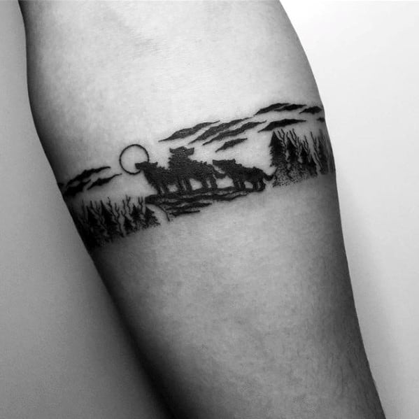 Wolves In Nature Mens Small Forearm Band Tattoos