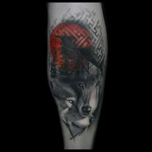 Wolves Trash Polka Mens Leg Calf Tattoos