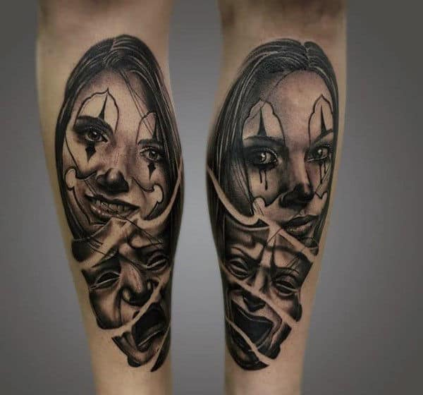 Woman And Mask Mens Leg Calf Chicano Tattoos