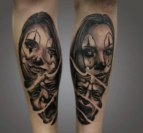 Woman And Mask Mens Leg Calf Chicano Tattoos