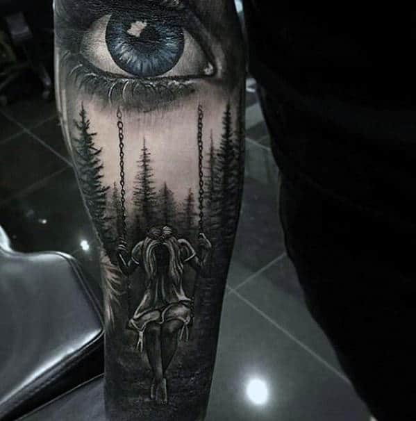 Woman In Forest With Blue Eye Guys Realistic Forearm Sleeve Tattoo
