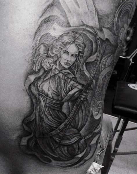 Woman Shooting Bow Mens Rib Cage Side Archery Tattoos