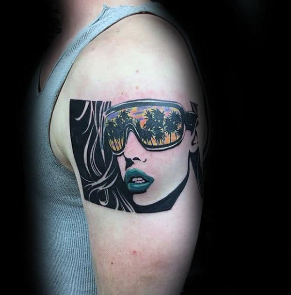 Woman Wearing Sunglasses Pop Art Upper Arm Tattoo For Men