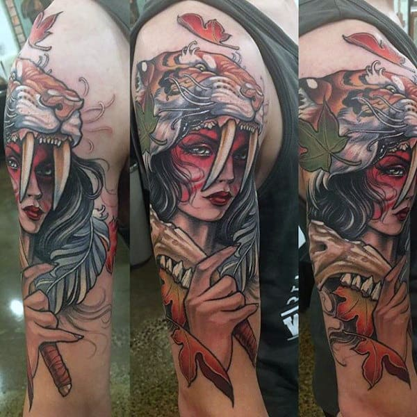 Woman With Lion Head Maple Leaf Mens Arm Tattoos