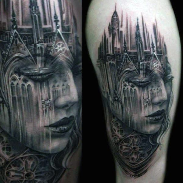 Womans Face Castle Tattoo On Mans Upper Arm