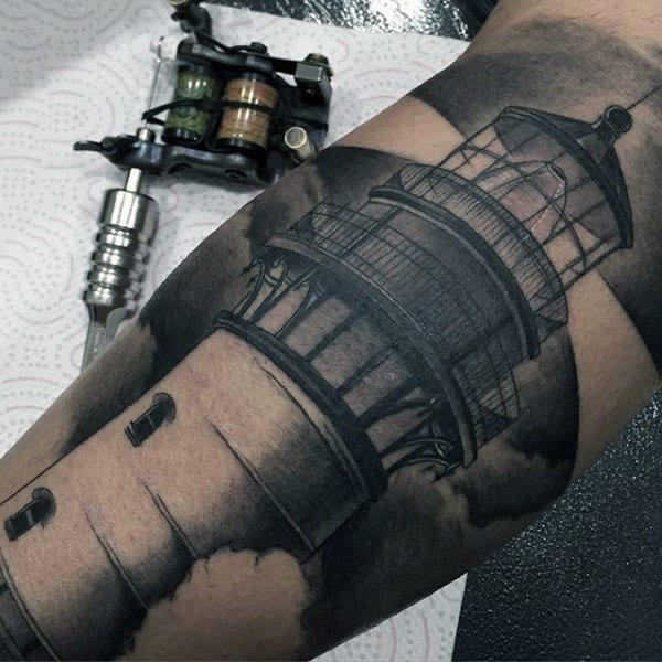 Wonderful Black And Grey Lighthouse Tattoo Mens Forearm