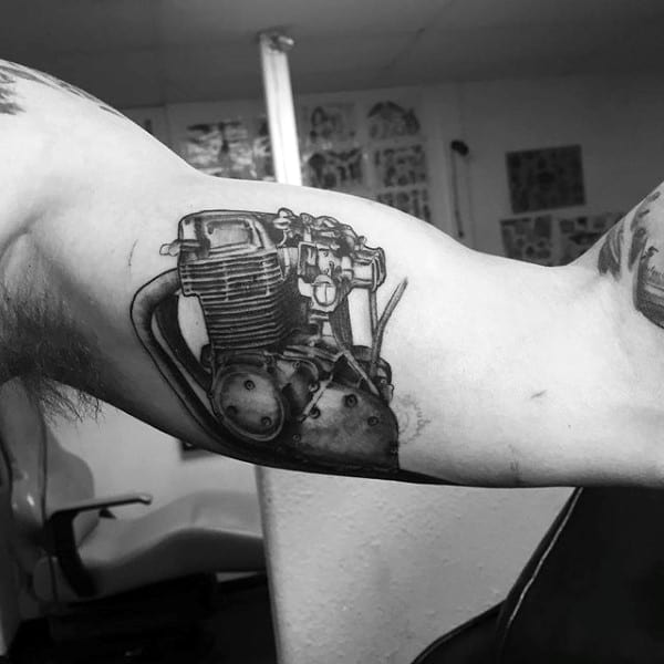 Wonderful Black Engine Tattoo Male Arms