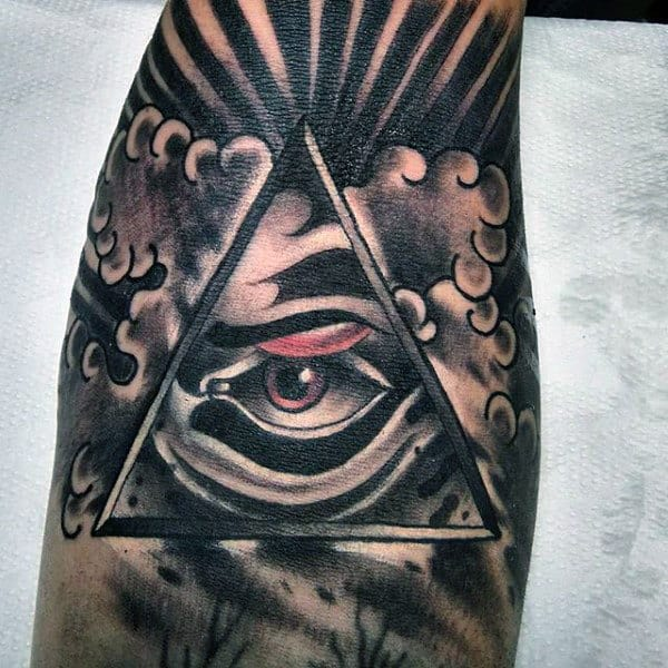 Wonderful Black Eye With Red Smudge Tattoo On Mens Forearms