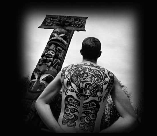 Wonderful Black Haida Tattoo Male Back