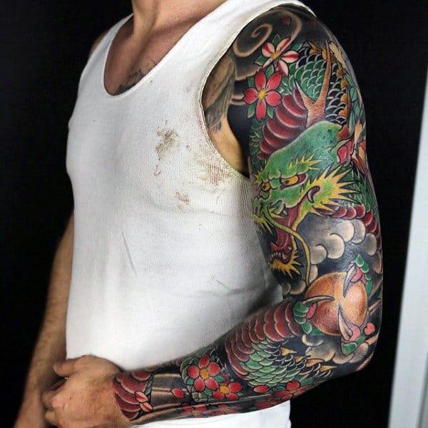 100 Dragon Sleeve Tattoo Designs For Men - Fire Breathing ...
