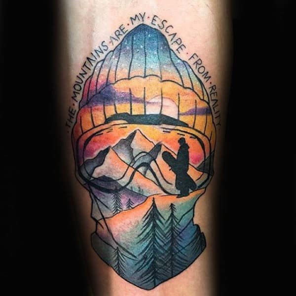 Wonderful Escape From Reality Snowboard Tattoo Male Forearms
